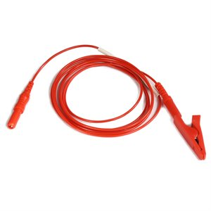 "KING Electrode Lead Cable 1.5 mm Female TP connector to Alligator Clip Length 5"" (13 cm), Red, Qty 1"