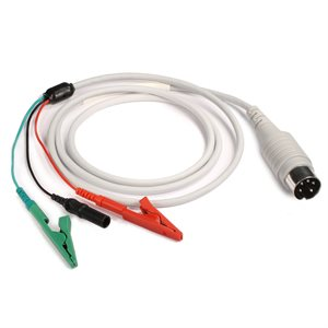 """KING Shielded Cable, 5 PIN DIN to 1 Red, 1 Green Alligator Clip, 1 Black Male TP Connector 40"""" Qty 1"""