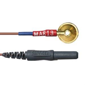"""Grass Electrode, Light-weight Teflon, Gold Cup, 10 mm disc, 2 mm hole, 120"""""""